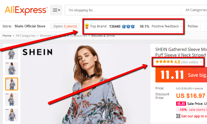Aliexpress as China supplier for sourcing.