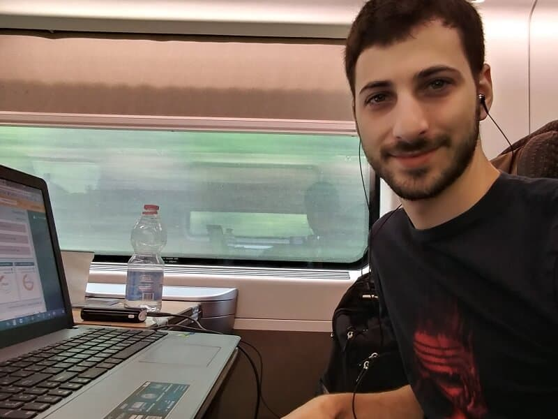 Working on the train from Milan to Venice