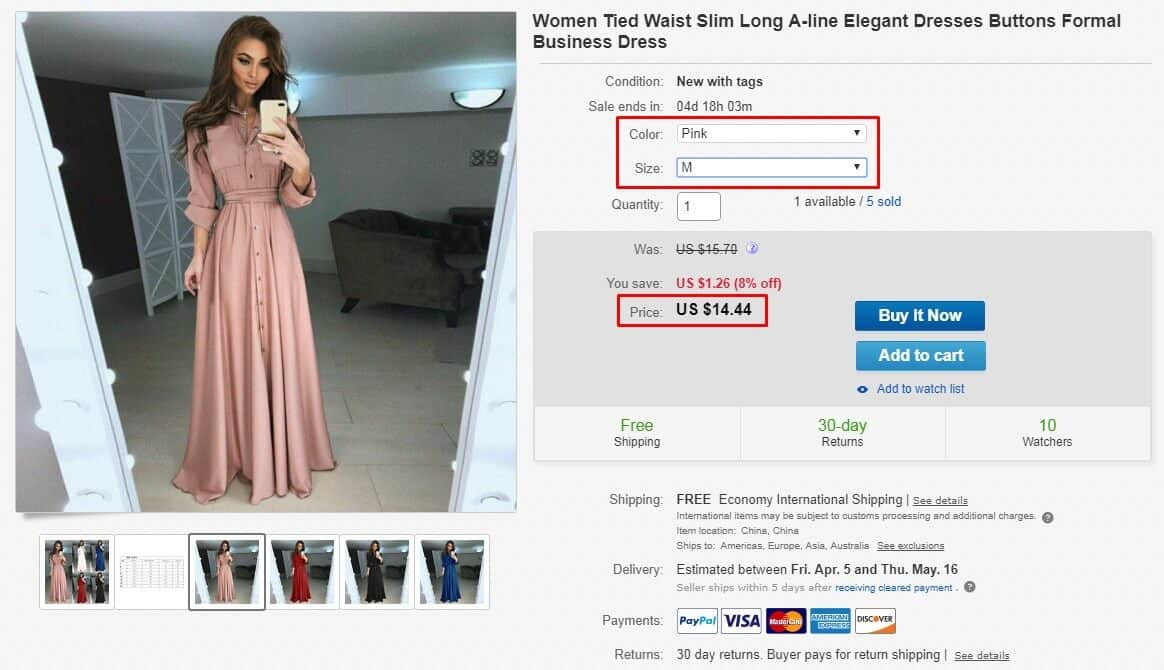 elegant dress price and variations