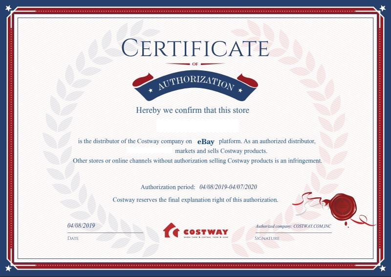 Costway certificate authorization