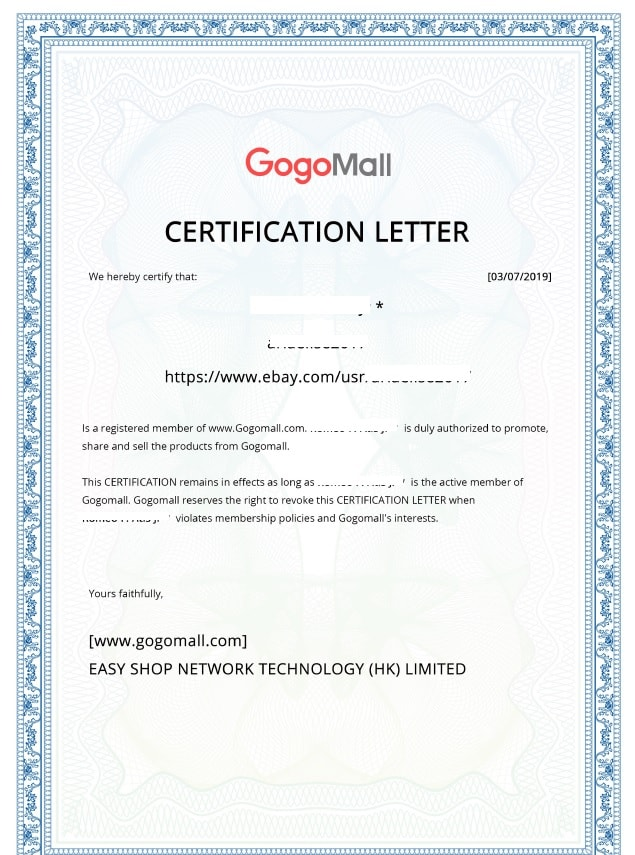 Gogomall certification letter