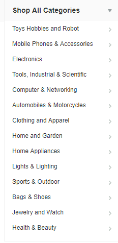 the list of the Banggood categories