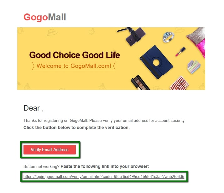 Gogomall verify email address