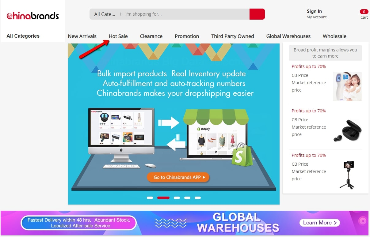 Supplier's Best Sellers Section for dropshipping product research