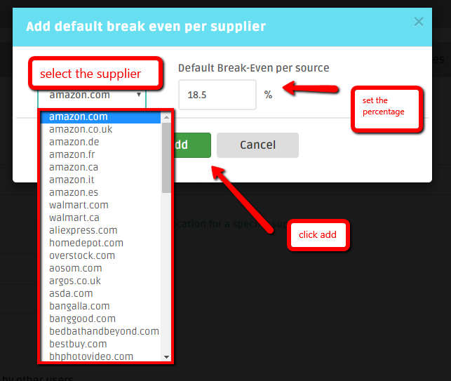How to set up a Break-Even for a dropshipipng supplier in DSM Tool