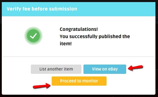 A message that shows that listing on eBay or Shopify was completed
