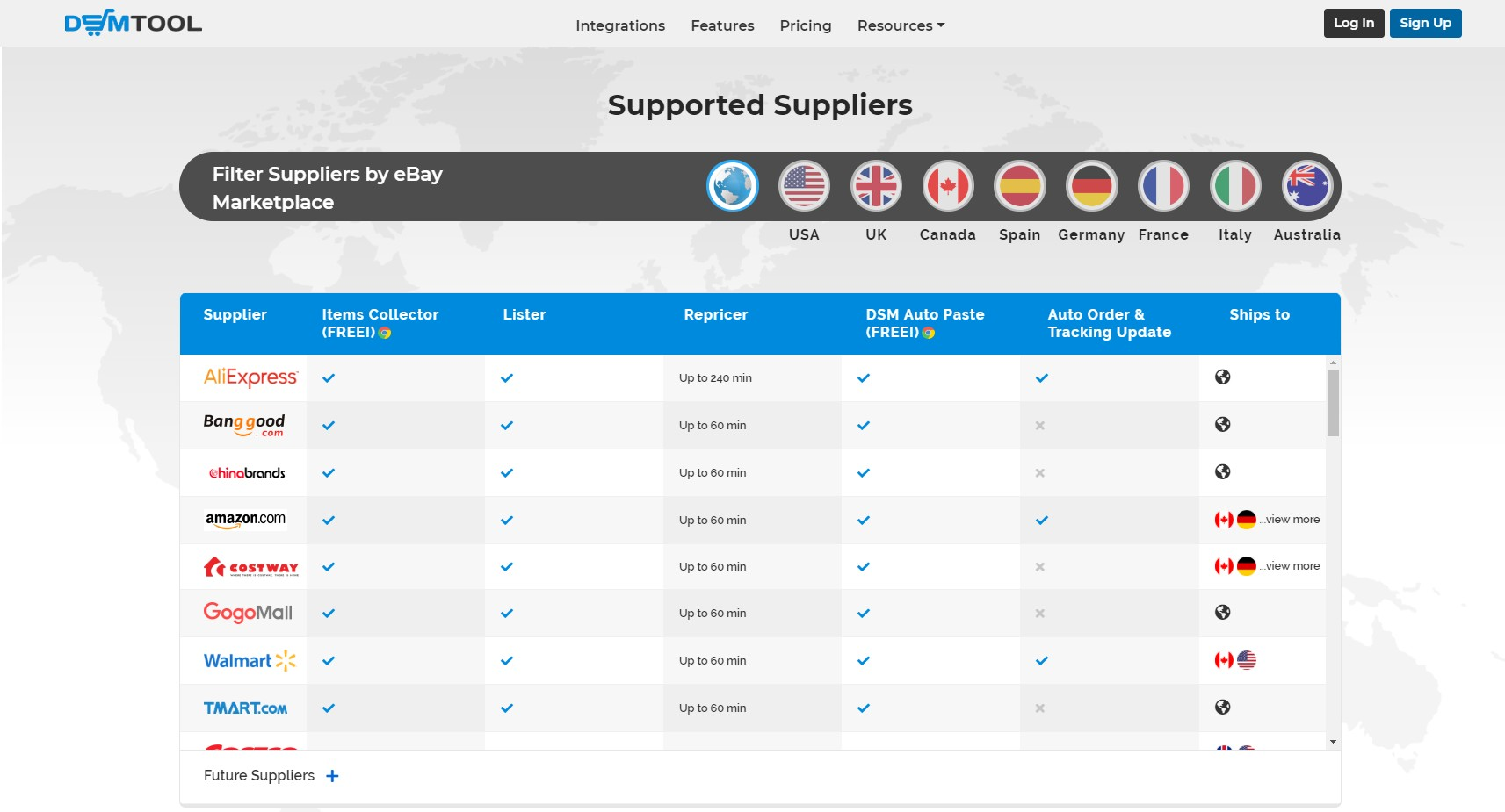 DSM TOOL supported suppliers list