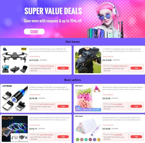 Codes for Black friday deals in Aliexpress