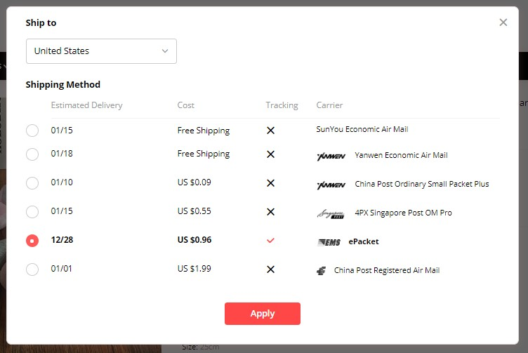 Drop shipping from Aliexpress supplier