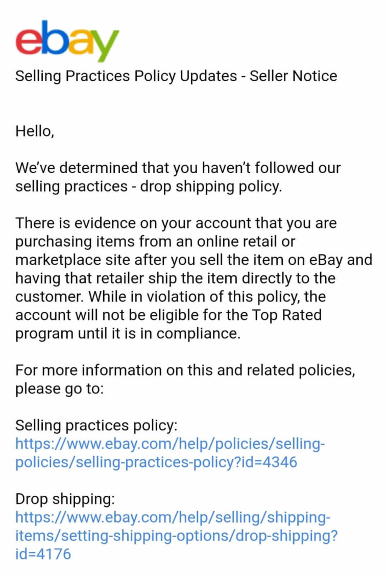 An email from eBay about eBay drop shipping policy violation