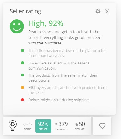 The seller rating that helps to find a reliable seller on Aliexpress
