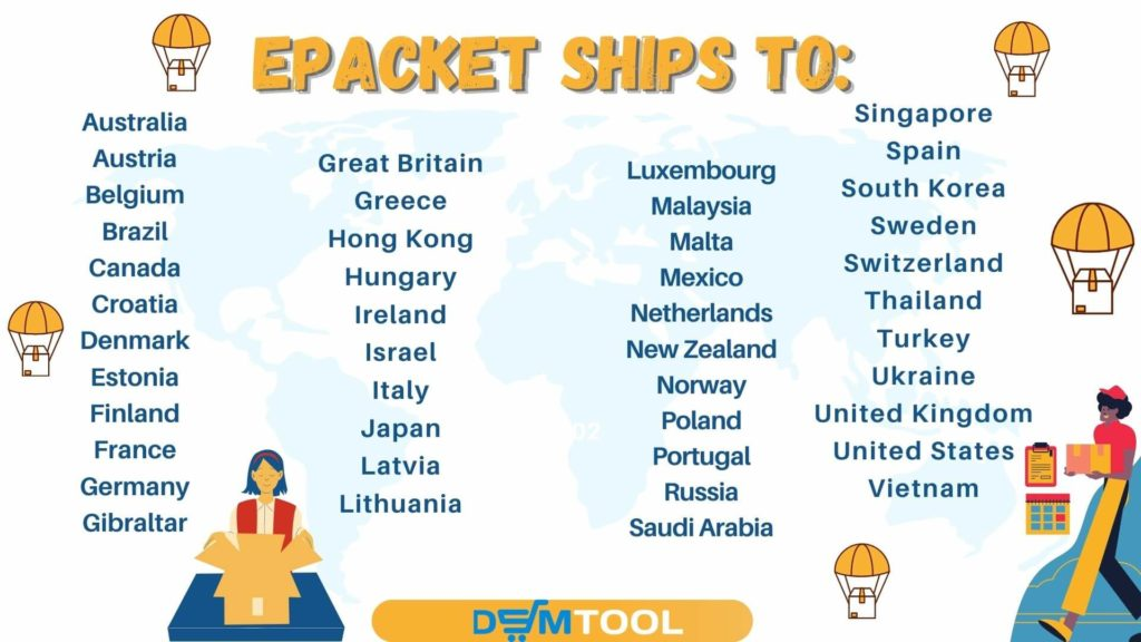 List of 44 countries where ePacket ship to.