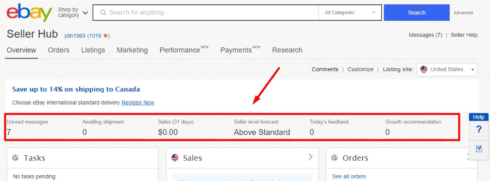 The overview section of eBay Seller Hub