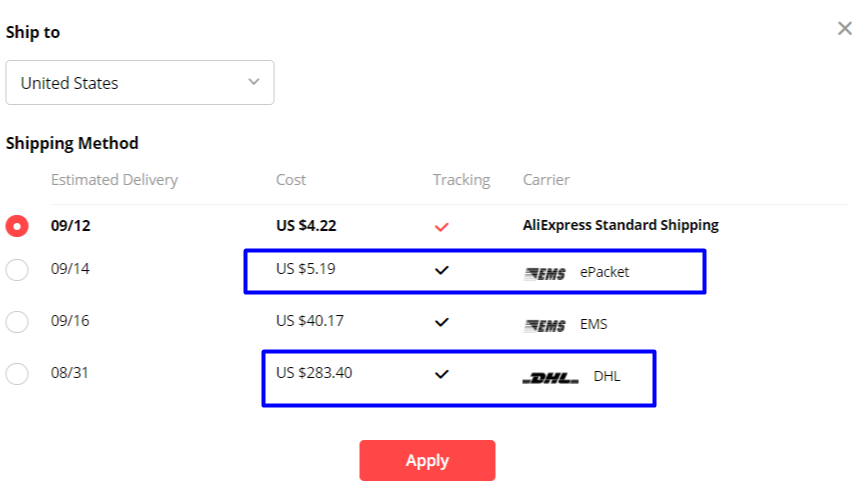 USA Shipping rules for epacket EMS