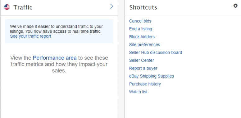 Traffic and Shortcuts sections on eBay Seller Hub