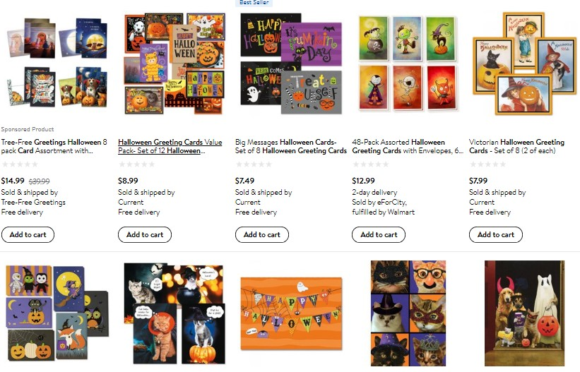 Halloween greeting cards on Walmart