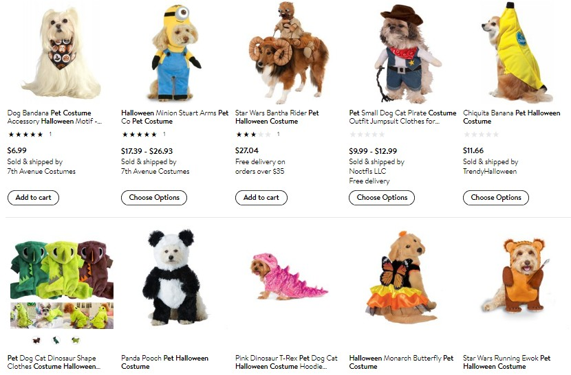 Walmart Halloween pet costume examples for dropshipping