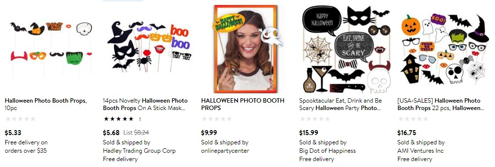Halloween photo booth set items on Walmart