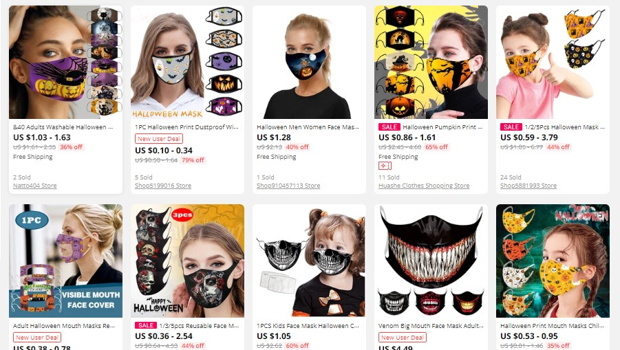 Halloween reusable masks on Aliexpress as suggestions for dropshipping