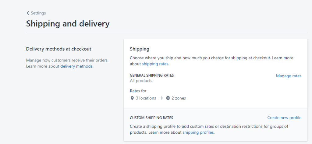 Shipping rate for dropshipping in Shopify