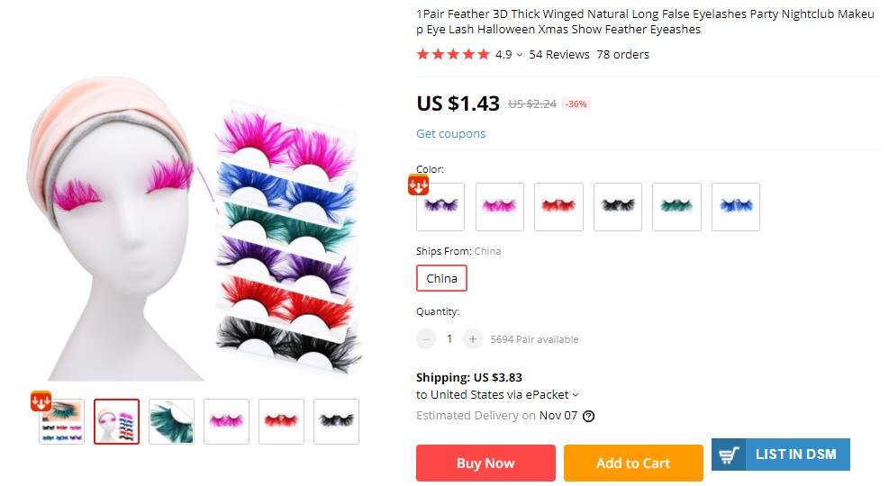 feather false eyelashes as selling Halloween product for dropshipping
