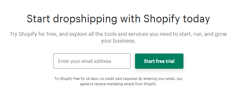 Start a Shopify dropshipping
