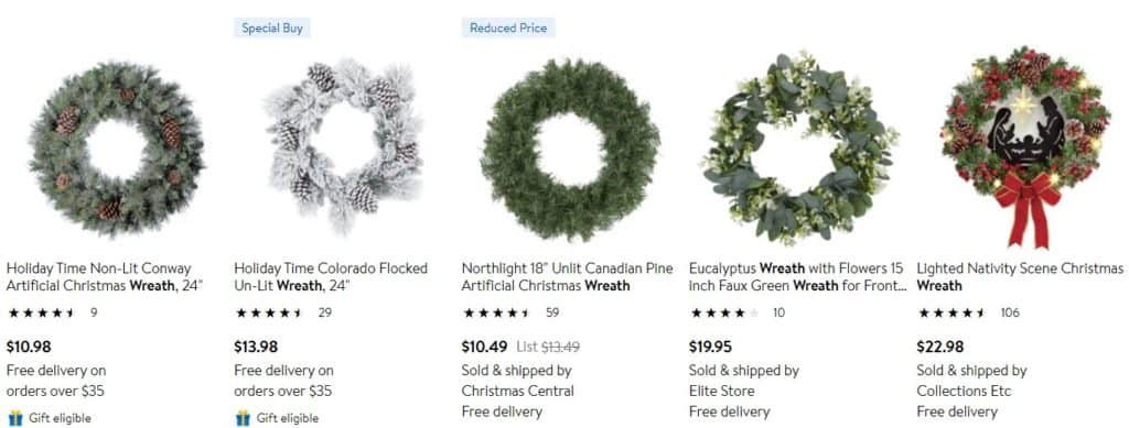 Christmas wreath as best selling thing on Christmas