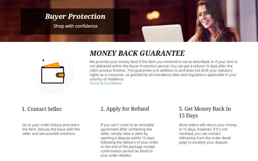 Reliable sellers on Aliexpress offer the buyer protection.