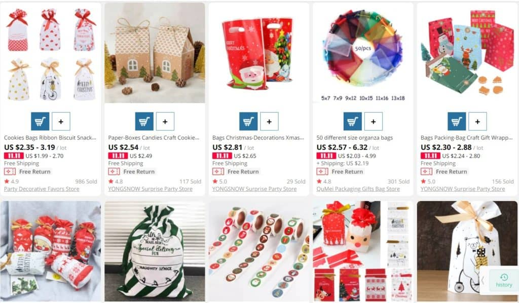 AliExpress bags as example of dropshipping Christmas products.