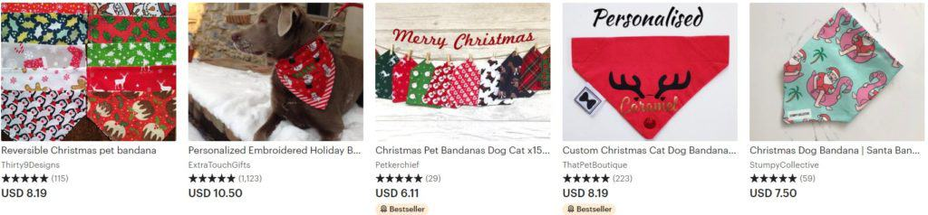 Most selling Christmas pet product examples