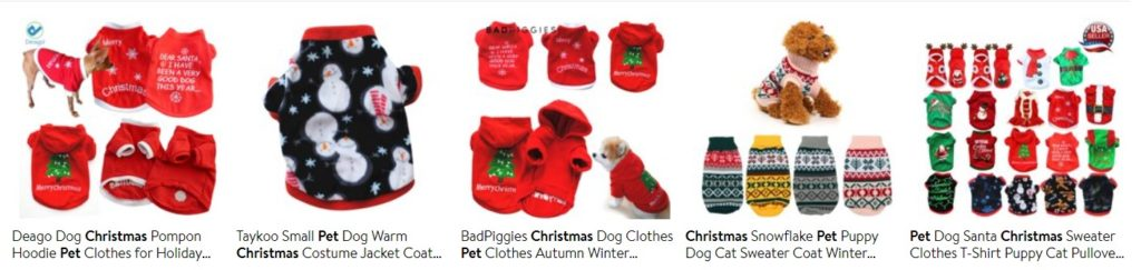 Dropshipping Christmas products for pets example