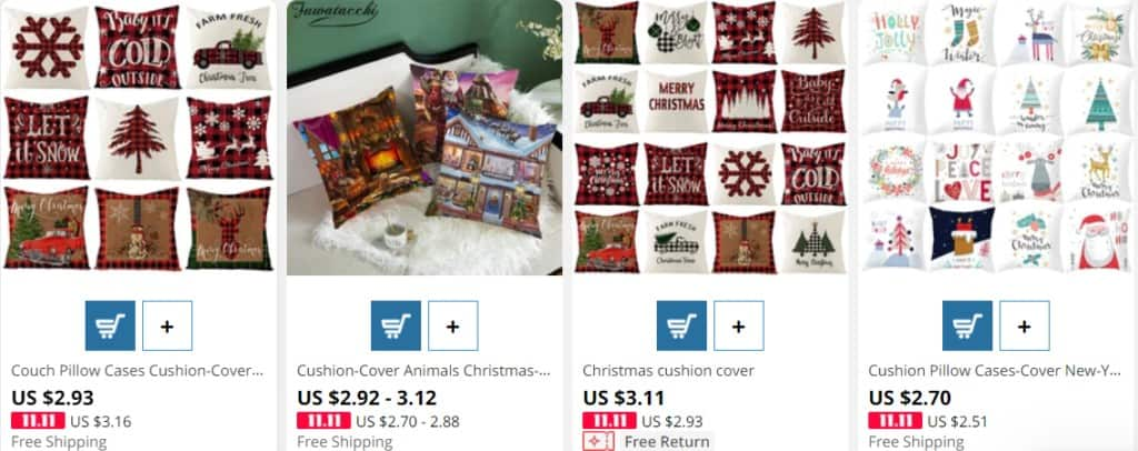 Dropshipping Christmas products example on AliExpress