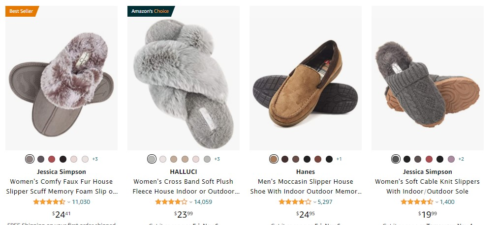 Slippers to sell on holidays 2020