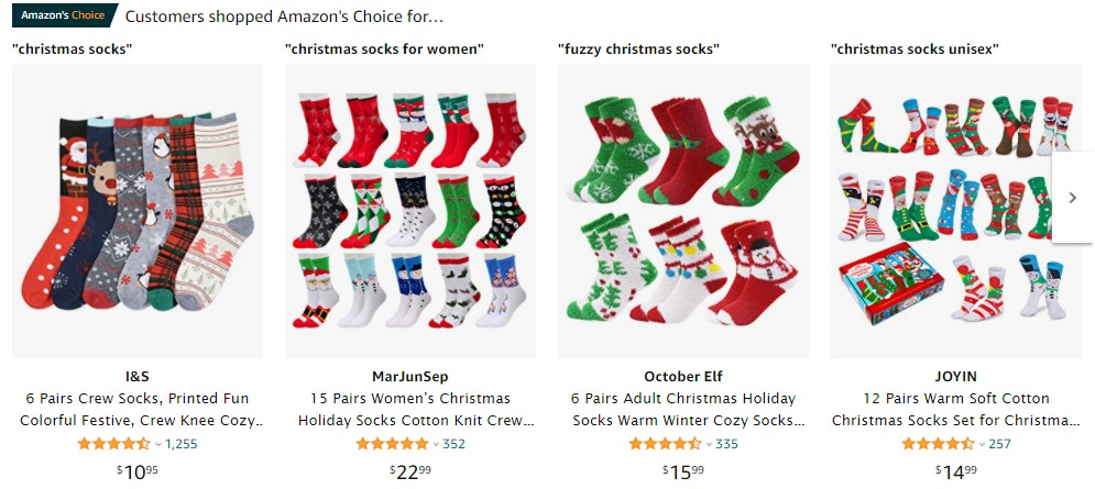 socks as most selling Christmas products