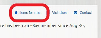 The items for sale button on ebay to search most selling items
