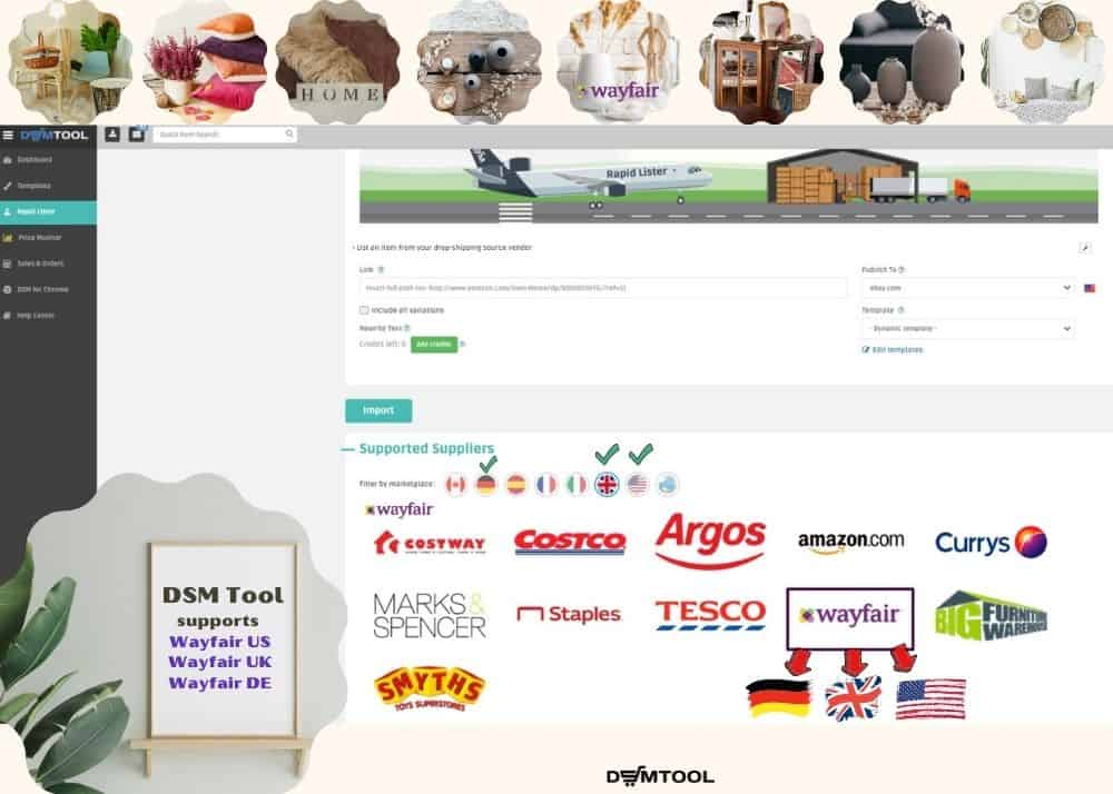 DSM Tool supports dropshipping from Wayfair