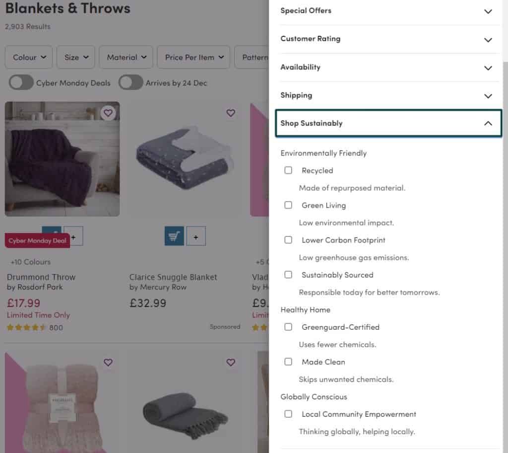 The Shop Sustainably filter for Wayfair products search