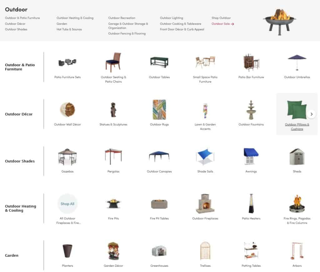 wayfair category search interface