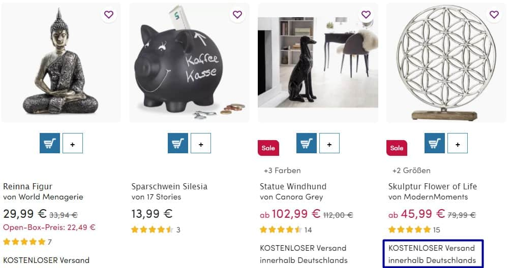 An example of the Wayfair Germany product with free shipping