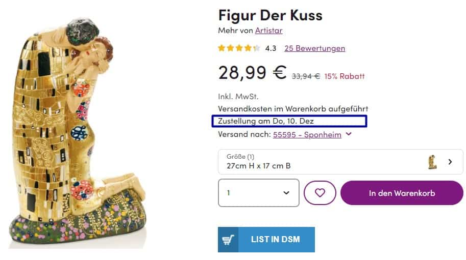 An example of the Wayfair Germany product with one week shipping