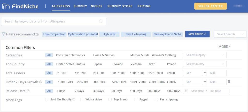 FindNiche for dropshipping product research
