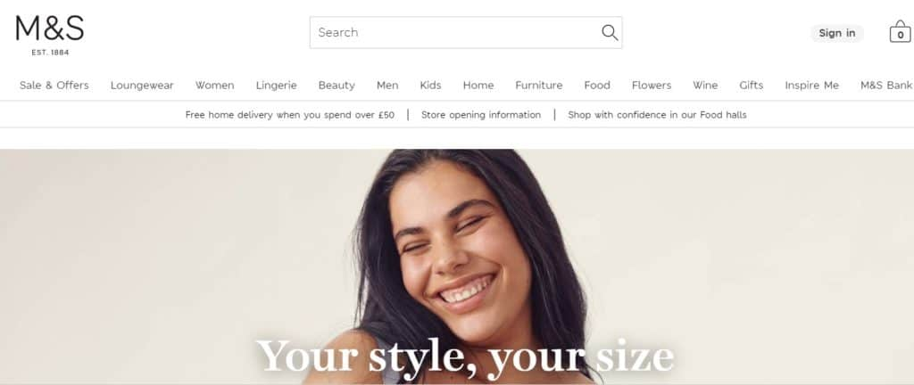 Marks and Spencer as a supplier for dropshipping