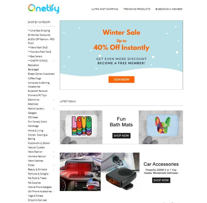 Onetify as a dropshipping supplier.