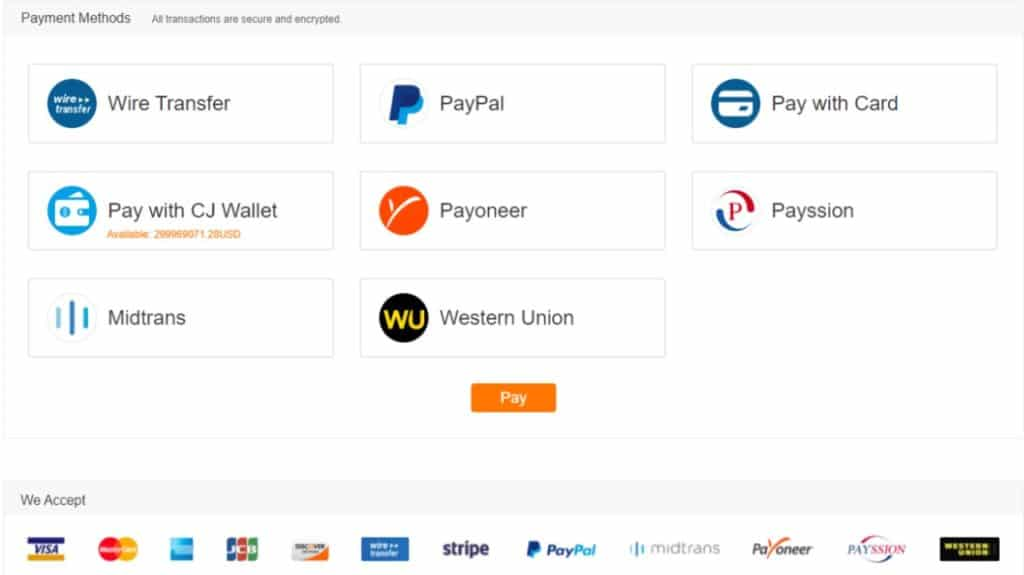 CJDropshipping payment methods
