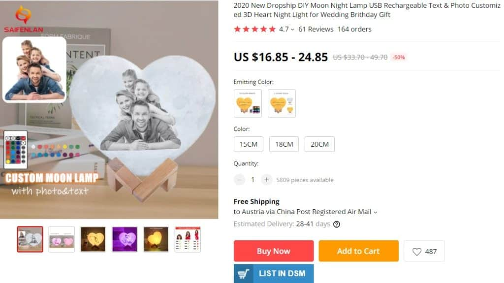 custom product example for dropshipping on Mother's Day