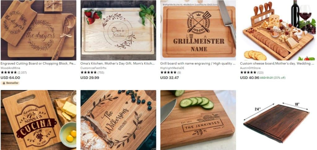 Etsy custom gifts as an idea of what to sell on Mother's Day