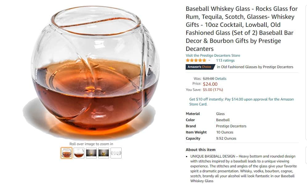 Baseball Whiskey Glass as a great Father´s day gift
