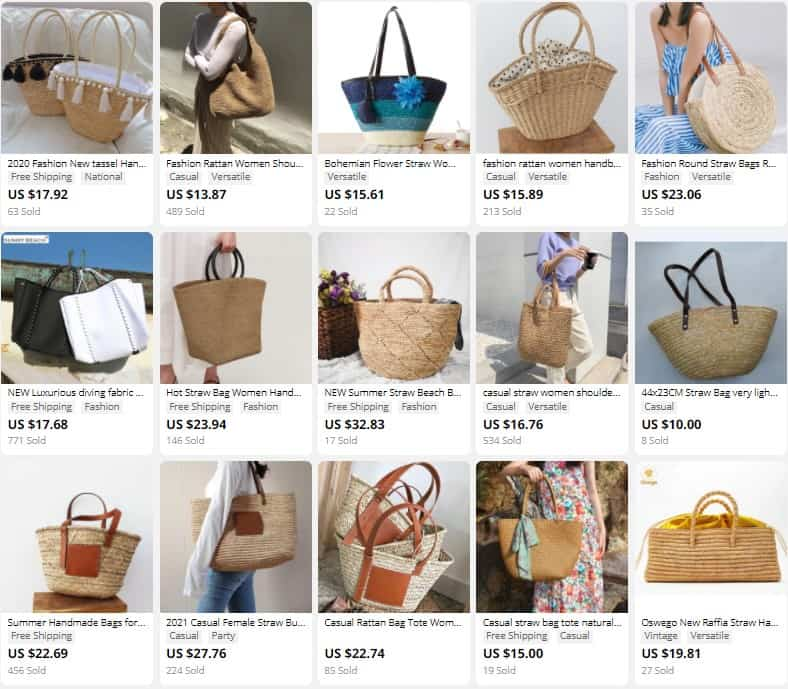 Straw bags as popular summer items to sell in summer.