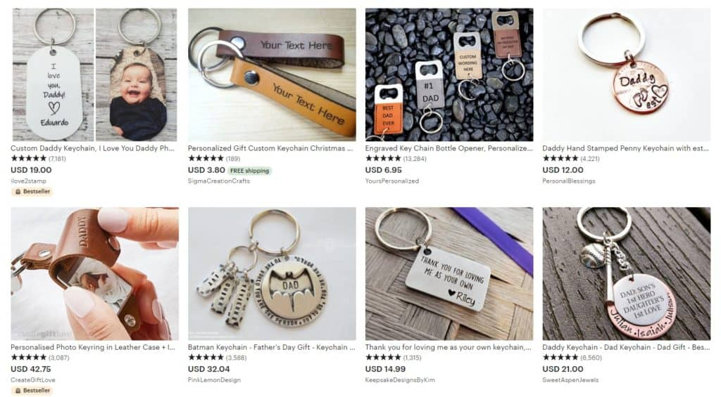Keychains as personalized Father's Day gifts