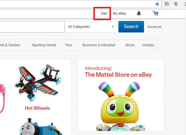 Clic here to open an eBay selling account